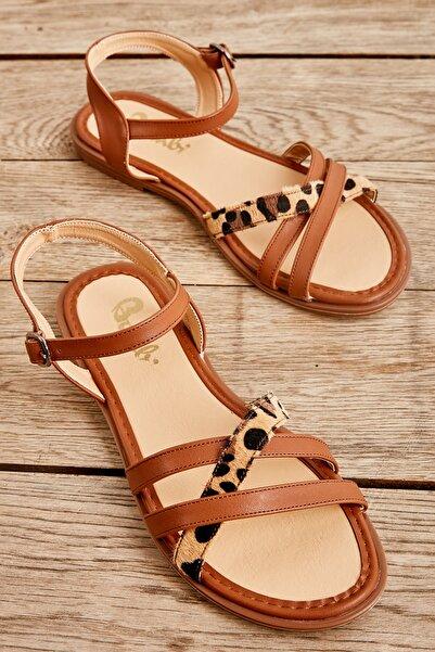 Bambi Taba/leopar Kadın Sandalet L0652071309