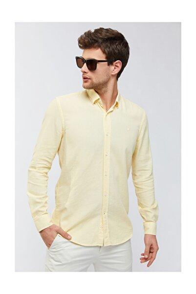 Avva Erkek Sarı Armürlü Alttan Britli Slim Fit Gömlek A91y2097