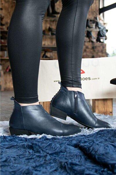 BUENO Shoes Fermuar Ve Boncuklu Hakiki Deri Kadın Düz Bot 9p7108