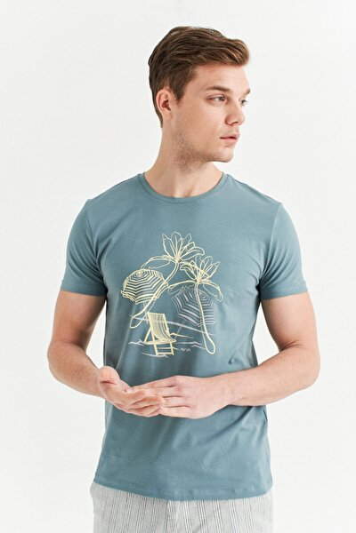 Avva Erkek Nil Yeşili Bisiklet Yaka Baskılı T-shirt A01y1084