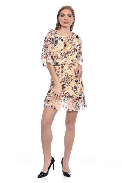 Modkofoni Kısa Kollu Ve Yaka Detaylı Belden Lastikli Çiçekli Kısa Şifon Sarı Elbise