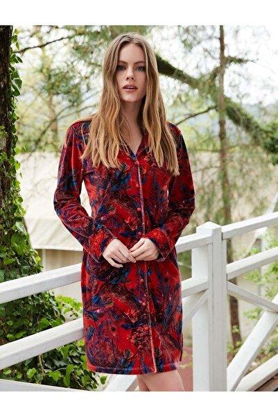 Penyemood Penye Mood 8404 Kadın Önden Düğmeli Elbise - Penye Mood - Görsel Rengi - Xl
