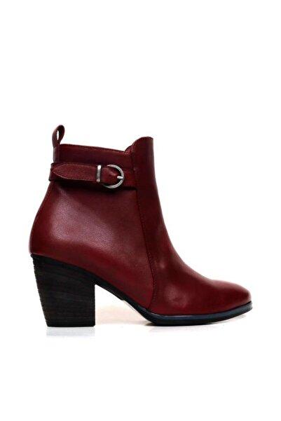 BUENO Shoes Kemer Detaylı Hakiki Deri Kadın Topuklu Bot 9p4209