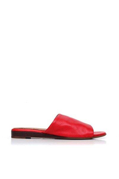 BUENO Shoes Lastik Detaylı Hakiki Deri Kadın Düz Terlik 9n1901