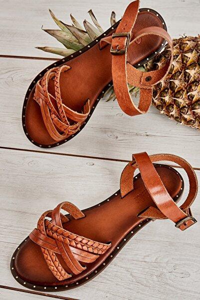 Bambi Taba/taba Örgü Kadın Sandalet L0685261903