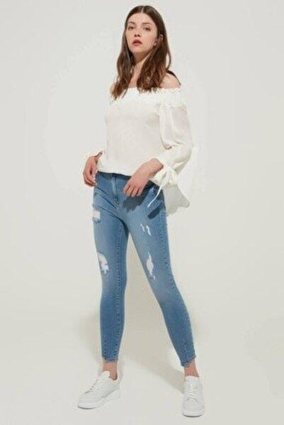 Kadın Yüksek Bel Skinny Jean Buz Mavi