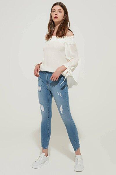 ZİNDİ Kadın Yüksek Bel Skinny Jean Buz Mavi