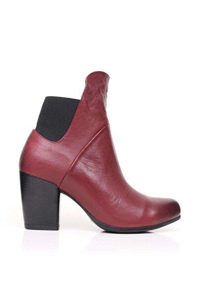 BUENO Shoes Lastik Detaylı Hakiki Deri Kadın Topuklu Bot 9p4700
