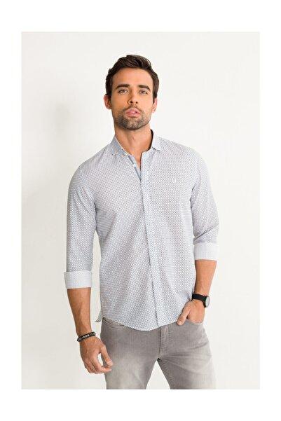 Avva Erkek Gri Baskılı Italyan Yaka Slim Fit Gömlek A01y2050