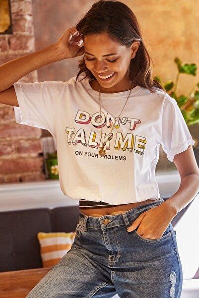 Lafaba Kadın Beyaz Baskılı Kısa T-shirt
