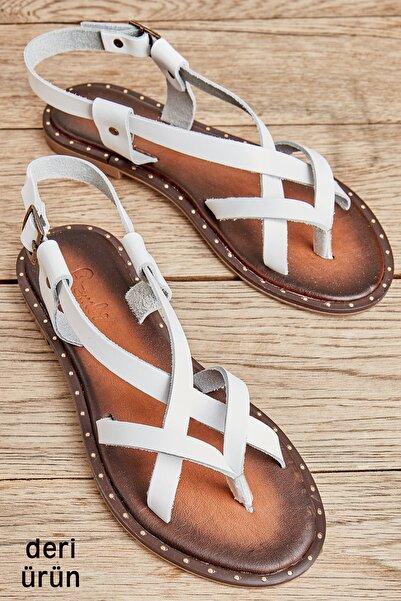 Bambi Beyaz Kadın Sandalet L0685080703