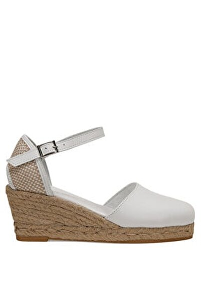 Frıda Beyaz Kadın Dolgu Topuk Sandalet
