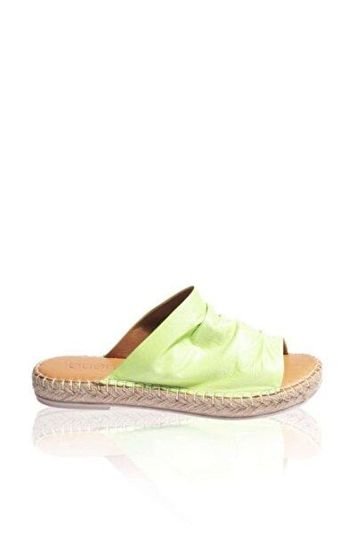 BUENO Shoes Hasırlı Taban Hakiki Deri Kadın Düz Terlik 9l4617
