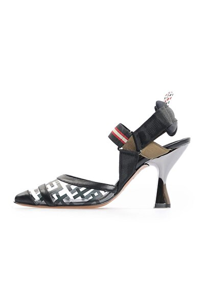 Flower Siyah Kombin F Baskılı Şeffaf Topuklu Ayakkabı