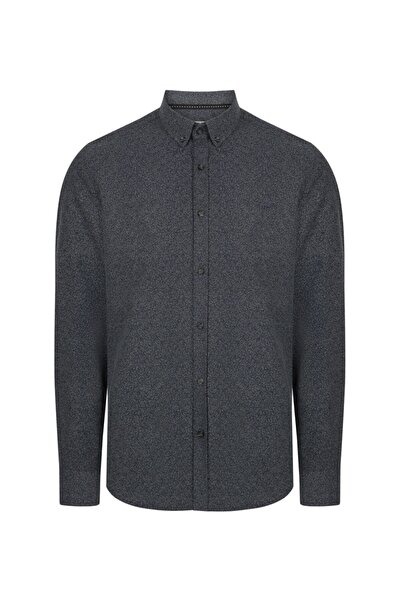 Avva Erkek Koyu Gri Baskılı Klasik Yaka Slim Fit Gömlek A92s2233