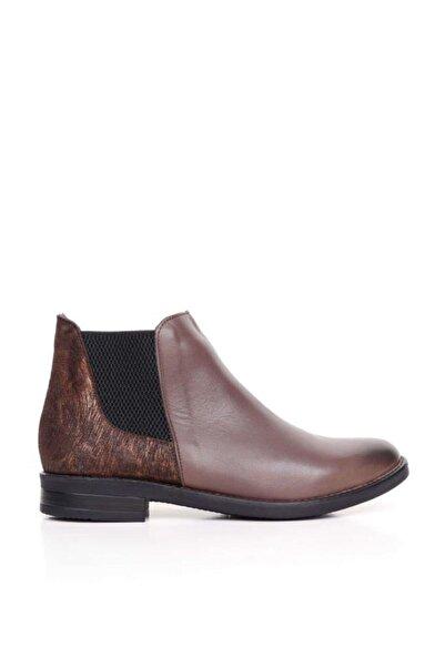 BUENO Shoes Desenli Ve Lastikli Hakiki Deri Kadın Düz Bot 9p0215