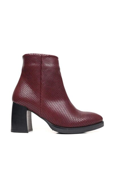 BUENO Shoes Dokulu Baskılı Hakiki Deri Kadın Topuklu Bot 9p3300