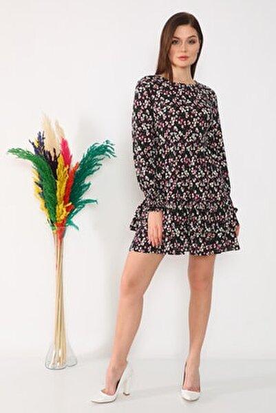 Etek Ucu Fırfırlı Elbise