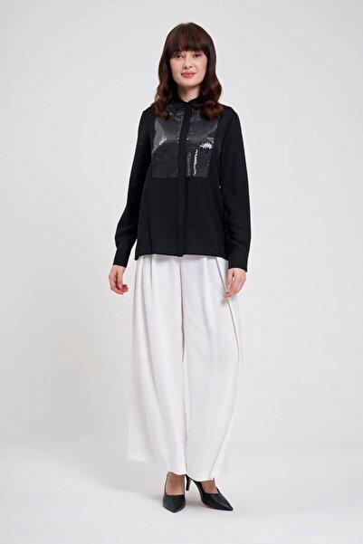 Mizalle Önü Pul Işlemeli Gömlek Bluz (Siyah)