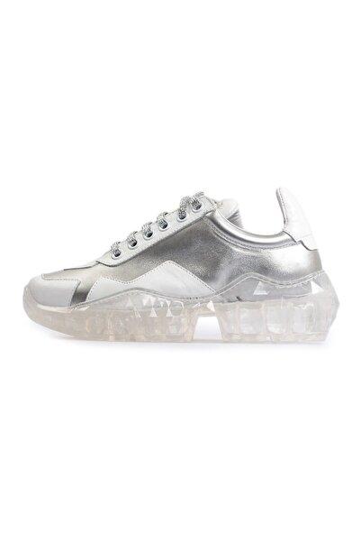 Flower Beyaz Şeffaf Tabanlı Kadın Spor Ayakkabı