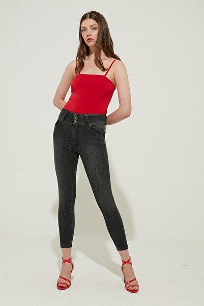 ZİNDİ Kadın 3 Düğmeli Yüksel Bel Skinny Jeans Füme