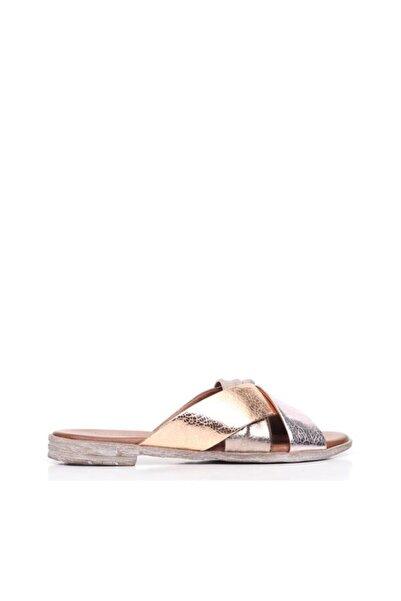 BUENO Shoes Çapraz Detaylı Hakiki Deri Kadın Düz Terlik 9n5018