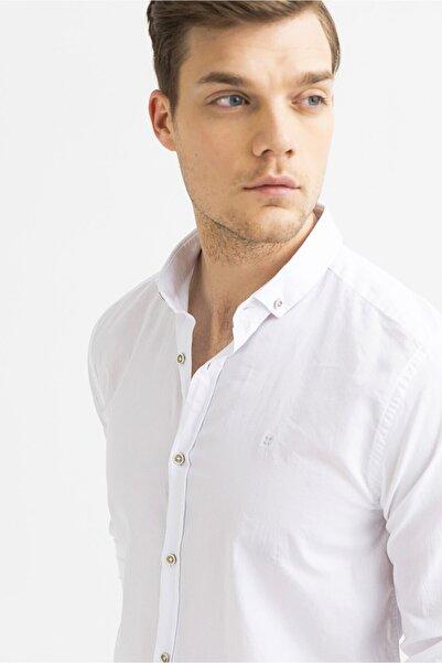 Avva Erkek Beyaz Düz Düğmeli Yaka Slim Fit Uzun Kol Vual Gömlek A01s2206