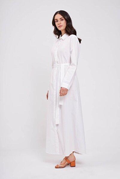 Mizalle Poplin Maxi Gömlek Elbise (Ekru)