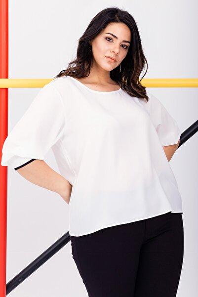 Lafaba Kadın Beyaz Büyük Beden Manşetli Bluz