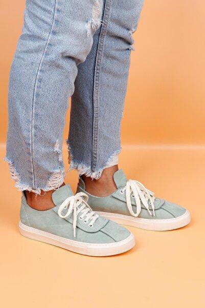 BUENO Shoes Hakiki Deri Bağcık Detaylı Kadın Spor Ayakkabı 20wq4703