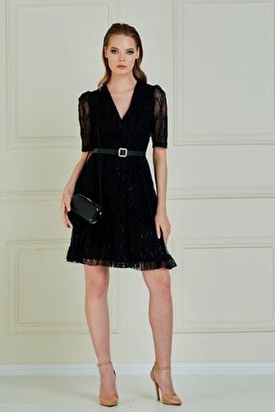 Jeanne D'arc Kruvaze Yaka Eteği Volanlı Dantel Elbise Je89061