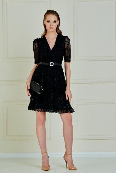 JEANNE DARC Jeanne D'arc Kruvaze Yaka Eteği Volanlı Dantel Elbise Je89061