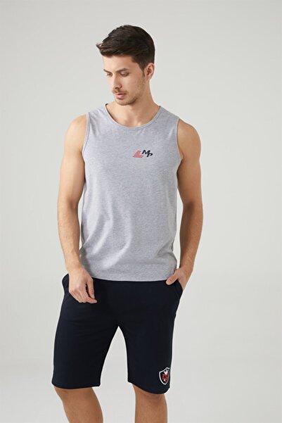 MP Erkek Sıfır Kol Gri T-shirt Tekstil 201-5007mr 550