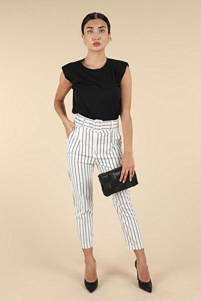 Oblavion Beyaz Siyah Çizgili Pantolon
