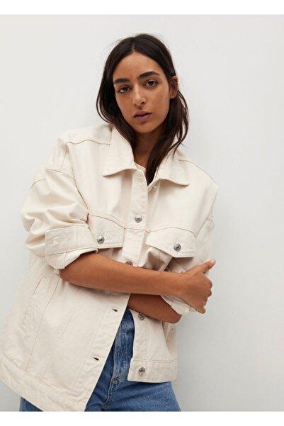 MANGO Woman Kadın Ekru Ceket