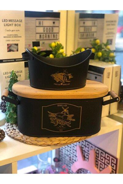 Eksprespazar Siyah Metal&ahşap Kapaklı 2'li Kayık Ekmeklik Ve Büyük Ekmeklik (kapağı Kesme Tahtasıdır) Nsl631