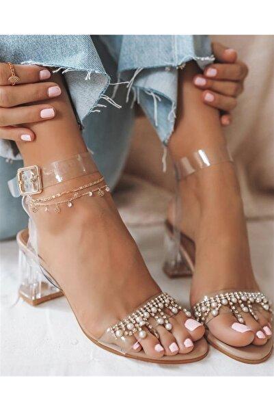 ETİLER SHOES Kadın Şeffaf Nils Topuk Taşlı Sandalet
