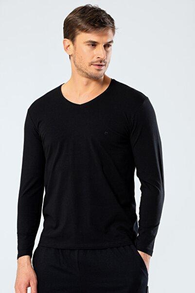 Cacharel Erkek Siyah V Yaka Uzun Kollu T-Shirt