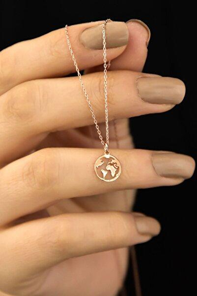 Papatya Silver 925 Ayar Gümüş Rose Kaplama Dünya Kadın Kolye