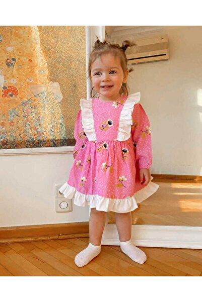 Le Mabelle Kız Çocuk Fuşya Çiçekli Elbise