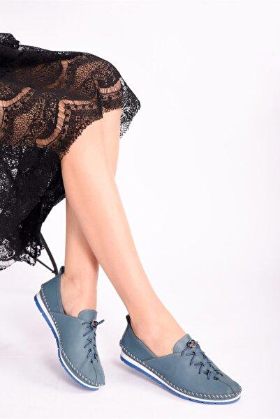 RİKEL DERİ Kadın  Hakiki Deri Mavi  Ayakkabı