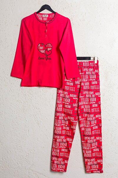 BSM Kadın Nar Çiçegi Pamuklu Kalp Desenli Mevsimlik Pijama Takımı