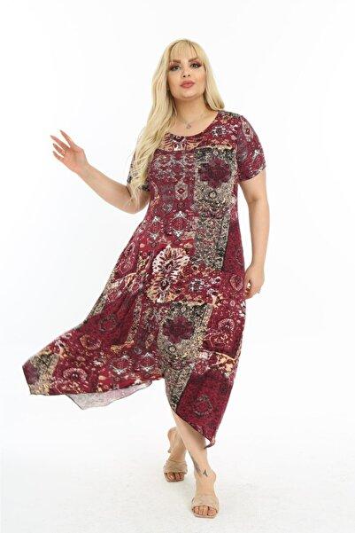 Mezura Kadın Bordo Yazlık Kısa Kol Dizaltı Asimetrik Penye Viskon Elbise
