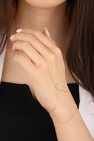Lia Berto Kadın Altın Kaplama Baget Taşlı 925 Ayar Gümüş Şahmeran