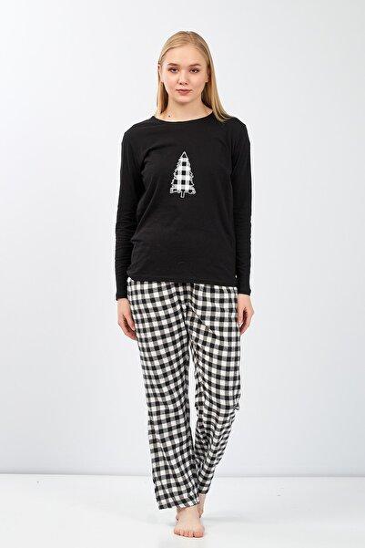 Moda Clubu Kadın Siyah Yeni Yıl Ekose Pijama Takımı Mc2020-14