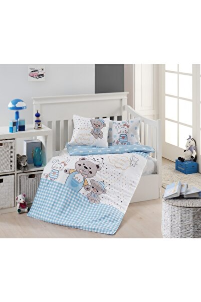 First Choice Mavi Teddy Ayı Temalı Bebek Çocuk Nevresim Takımı