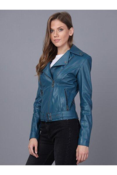 Basics&More Kadın Petrol Deri Ceket