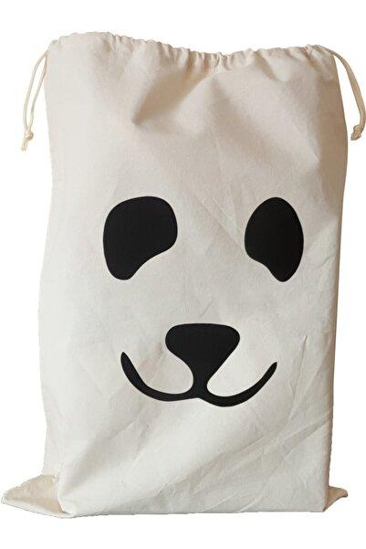 BugyBagy 50x70cm Ebadında Panda Figürlü Kanvas Oyuncak Ve Çamaşır Saklama Torbası