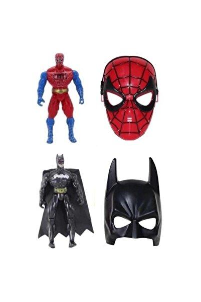 SPIDERMAN Örümcek Adam Spiderman Batman 22 cm Işıklı Figür Maske 4'lü Set