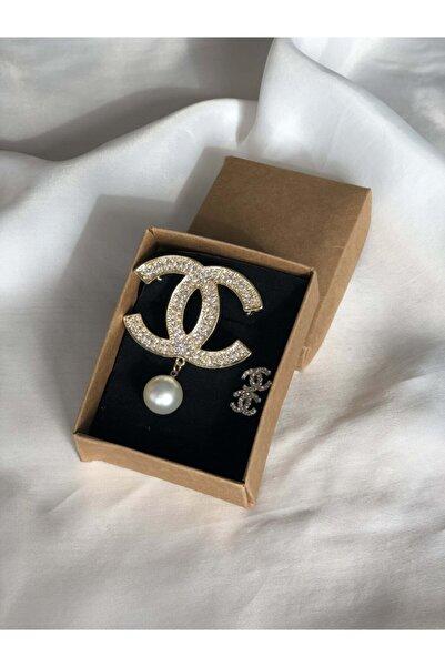 HİLLSCARF Chanel Broş & Chanel Küpe Seti